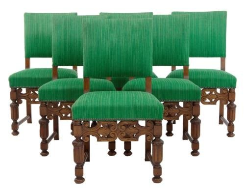 SET OF 6 1960's BAROQUE INFLUENCED DINING CHAIRS