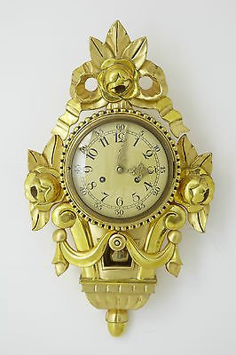 20TH CENTURY SWEDISH GILT CARVED ORNATE WALL CLOCK IMP FHS