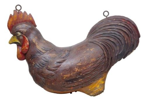 19TH CENTURY CARVED ADVERTISING SIGN OF A COCKEREL ROOSTER
