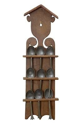 Antique 19TH CENTURY SWEDISH RUSTIC WALL MOUNTED SPOON RACK