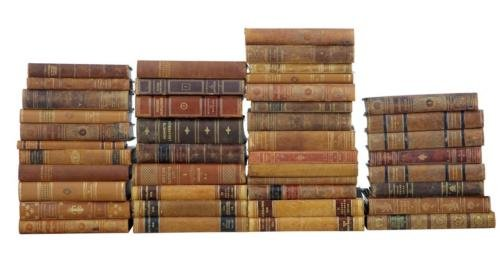 42 FINE QUALITY LARGE LEATHER BOUND DECORATIVE BOOKS