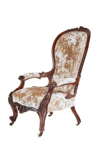 19TH CENTURY VICTORIAN CARVED WALNUT ARMCHAIR
