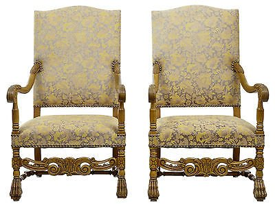 19TH CENTURY CARVED BAROQUE THRONE ARMCHAIRS
