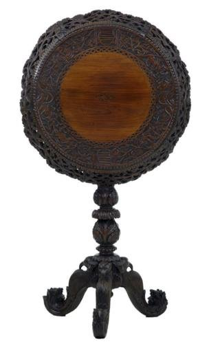 19TH CENTURY CARVED HARDWOOD CEYLONESE FLIP TOP TRIPOD TABLE