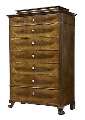 Antique 19TH CENTURY FRENCH MAHOGANY SERPENTINE TALL CHEST OF DRAWERS