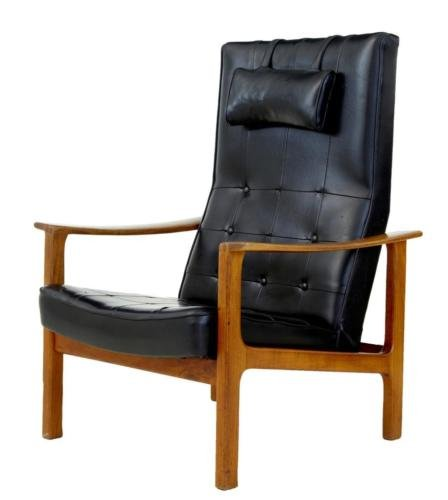 1960's SCANDINAVIAN MODERN TEAK RECLINING LEATHER ARMCHAIR