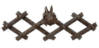 BLACK FOREST DEER HEAD CARVED COAT HOOKS CIRCA 1880
