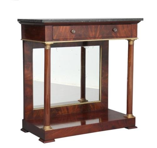 19TH CENTURY FRENCH EMPIRE MIRRORED MAHOGANY CONSOLE TABLE