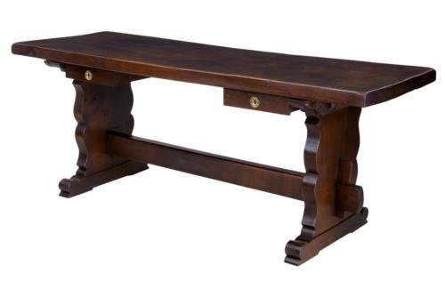 19TH CENTURY OAK TRESTLE BASE REFECTORY DINING TABLE