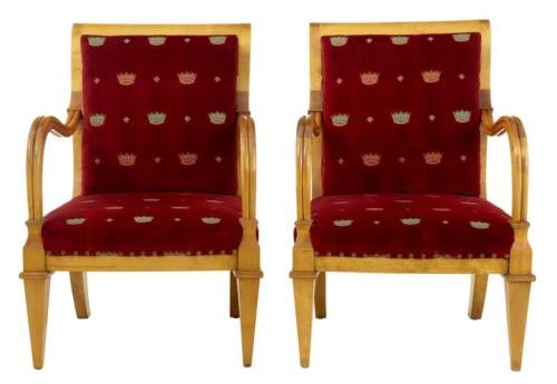 PAIR OF 19TH SWEDISH BIRCH ARMCHAIRS