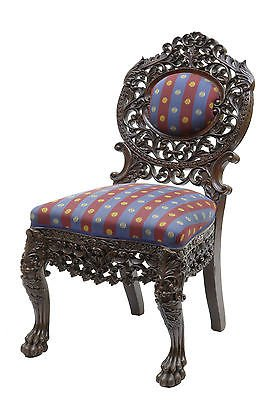 19TH CENTURY PROFUSELY CARVED BURMESE HARDWOOD CHAIR