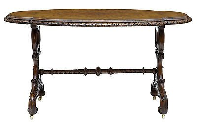 19TH CENTURY CARVED WALNUT OVAL SIDE TABLE