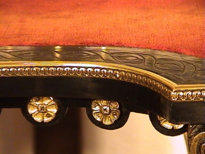 Antique Brass & Parcel Gilt Ebonised Lady's Writing Desk c.1870
