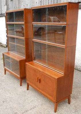 Antique Pair Mahogany Glass Fronted Bookcases for Book / Stationary Storage by Minty