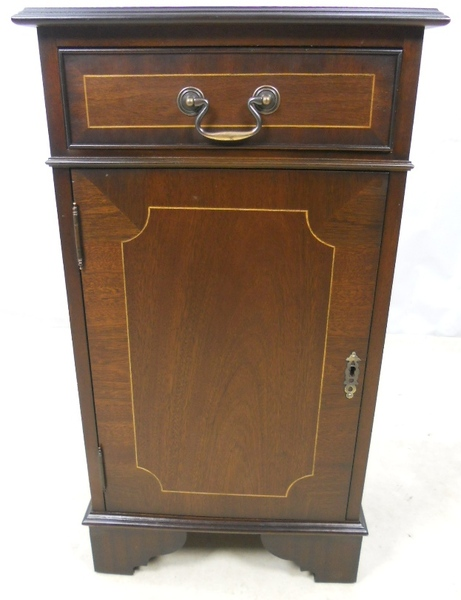Antique Bedside Cabinet Inlaid Mahogany Georgian Style Cupboard