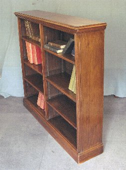 Antique Antique walnut open library bookcase