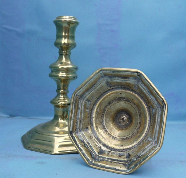 Antique Pair early brass candlesticks