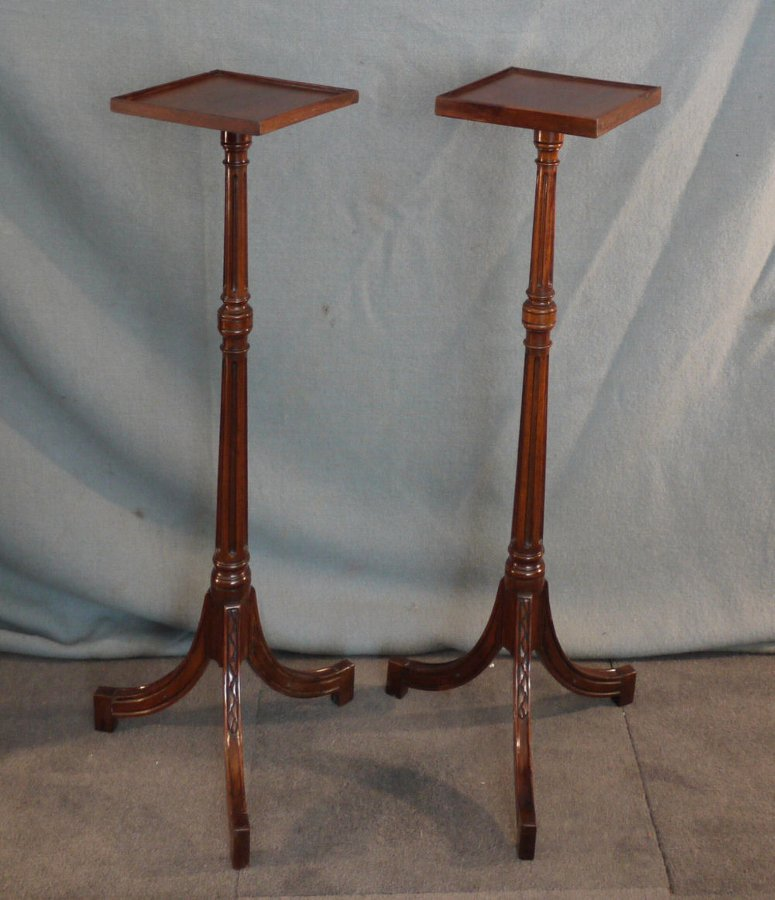 Pair of mahogany jardinere plant stands