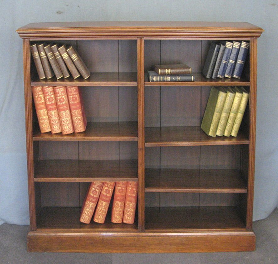 Antique walnut open library bookcase