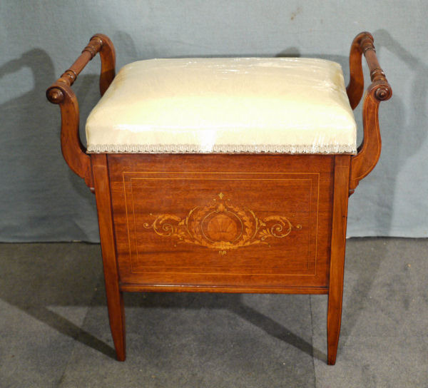 Antique Antique mahogany dressing piano stool