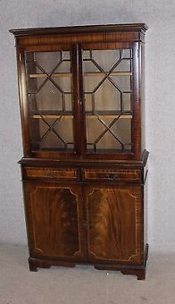 Antique 2 Door Mahogany Chiffonier bookcase with Glazed Top and double Cupboard. 1960's.