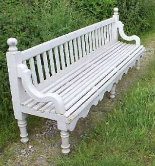 Antique 1850's Lovely Large Painted Railway Bench with decorative carved frame.