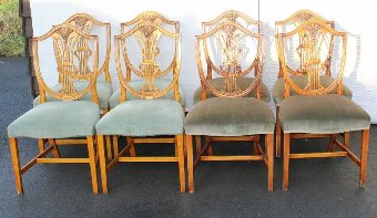 Antique Set 8 Wheatsheaf Mahogany Dining Chairs. Pale Blue upholstery. 1960's