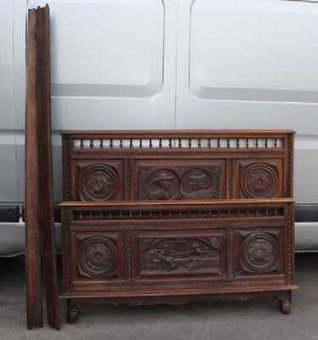 Antique 1920's Breton Highly Carved Oak Head,Foot and side rails.Double. 3 carved panels