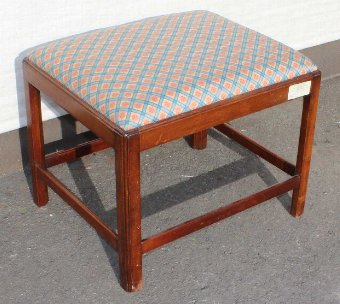 Antique Neat Georgian Mahogany Foot Stool with upholstered Top.