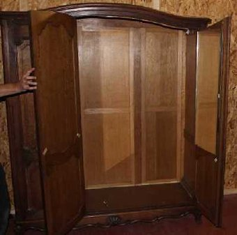 Antique Louis XV style Carved Oak 3 Door Armoire All Hanging. 1930's
