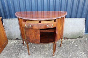 Antique .1920's Mahogany Half Moon Cabinet with cupboard and Drawer.