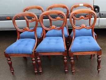 Antique Set 6 Victorian Elegant Mahogany Balloon Back Dining Chairs. Lovely Blue Seats