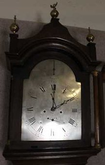 Antique Oak Cabinet Silvered Dial 8 Day Grandfather Clock with Chime.1840 Thomas Watkins