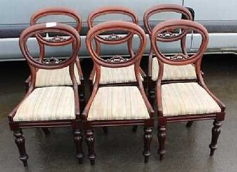 Antique Set 6 Victorian Elegant Mahogany Balloon Back Dining Chairs. Pale Stripe seats.