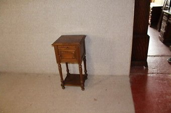 Antique 1920's Carved Walnut Henry 2 Bedside Cabinet with cupboard and Rouge Marble Top.