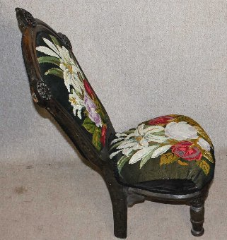 Antique 1900's Decorative Carved Oak Occasional Carver Chair Floral upholstery