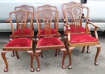 Antique Set 6 Mahogany 1920's Claw and Ball Dining Chairs. Pop out seats. 4 2 Red Seats