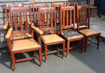 Antique Set 8 Mahogany Arts & Crafts style Dining chairs Carved Backs Being upholstered