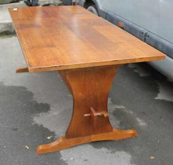 Antique 1940's Oak Table with Lyre End and Cross Stretcher. Just over 6ft Long.
