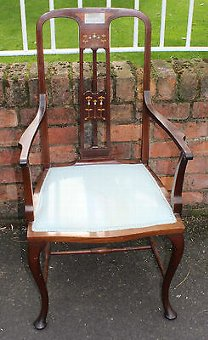 Antique Elegant 1920's French Mahogany Occasional Carver Chair with decorative Back