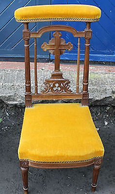 Antique 1900's Yellow Upholstered Prie Dieux with carved detailing.