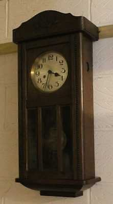 Antique 1930's Vintage Oak Wall Clock with Brass Pendulum and Great Face. 8 Day.