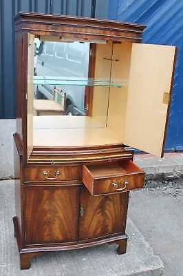 Antique Serpentine  Mahogany Drinks Cabinet with Brushing Slide and good interior