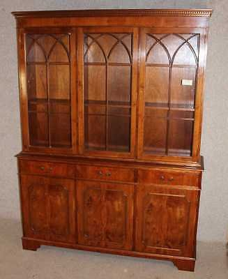 Antique Large 3 Door Yew Wood Bookcase with Glazed Top Display / Cupboards