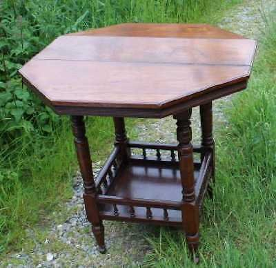 Antique 1900 Elegant Mahogany Table with Lower Tier. Turned Spindle Legs.Nice shaped Top