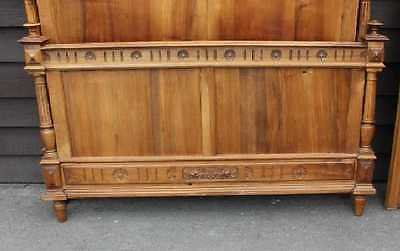 Antique 1920's Carved Solid Walnut Henry 2 style bed Rails Foot and Head Board.Double.