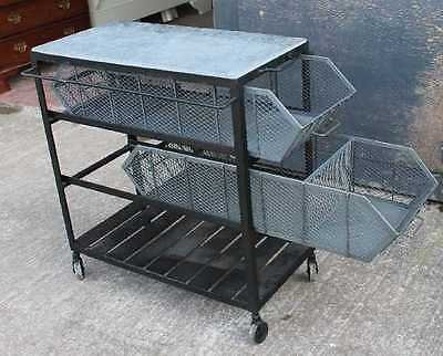 Antique Heavy French Metal Industrial style Trolley. Variety of Uses.