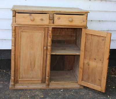 Antique Lovely Original Pine Base/ Cupboard with 2 drawers and Shelves. Spindles. 1900's