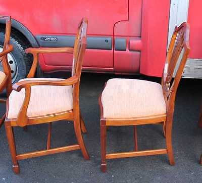 Antique Set 8 Mahogany Chippendale style Dining Chairs pop out self stripe upholstery