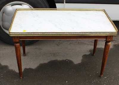 Antique 1940's Mahogany White Marble Topped Coffee Table on Turned Legs.
